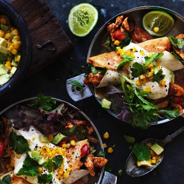 Chicken flautas with sweetcorn & avocado salsa