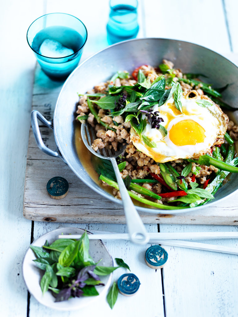 Stir-fried minced chicken with chillies, Thai basil & a fried egg