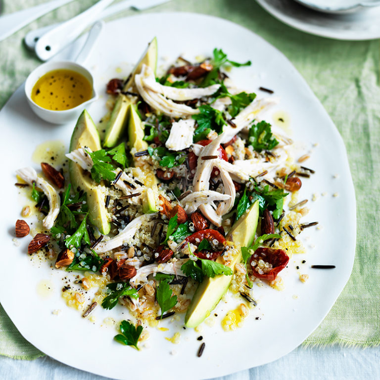 Roast chicken, avocado and rustic grain salad