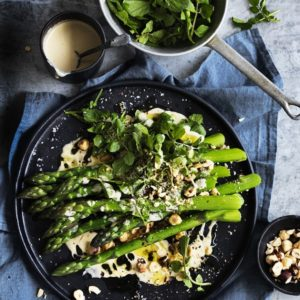 Neil Perry's Good Weekend recipe: Asparagus & hazelnut salad with creamy dressing.
