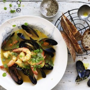 Neil Perry's Good Weekend recipe: Prawn & mussel saffron stew.