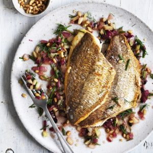 Neil Perry's Good Weekend recipe: Pan-fried snapper with Sicilian salsa.