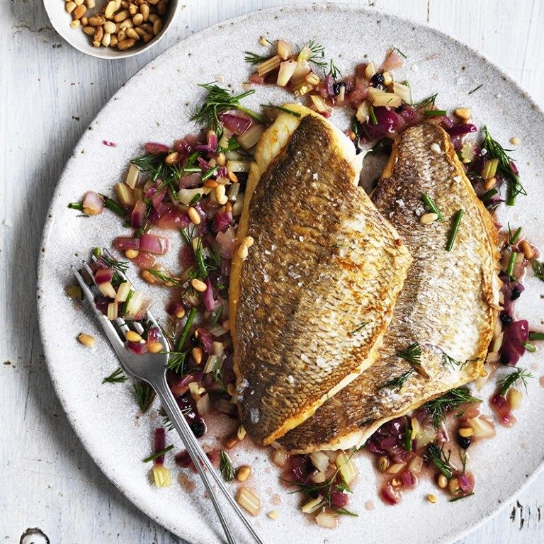Pan-fried snapper with Sicilian salsa