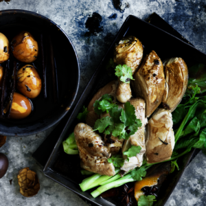 Neil Perry's Good Weekend recipe: Master stock chicken with tea eggs & stir-fried silken tofu.
