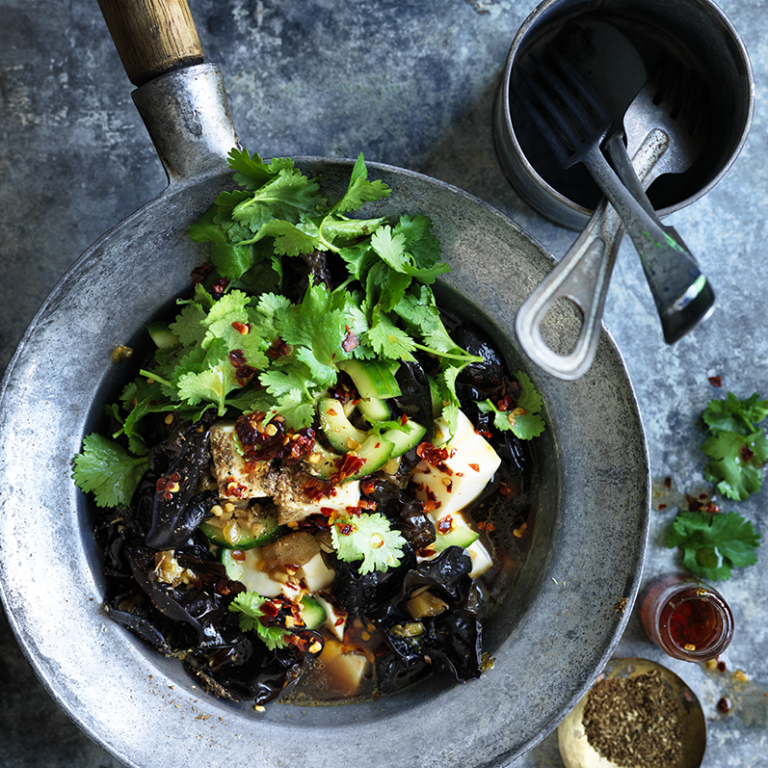 Stir-fried silken tofu with black vinegar & mustard greens