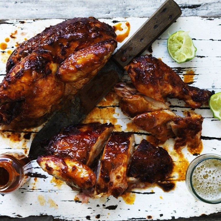 Sticky roast chicken with tomato glaze