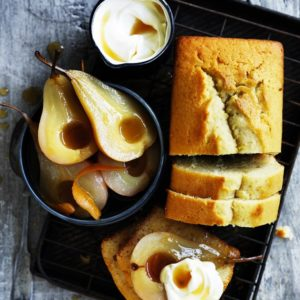 Neil Perry's Good Weekend recipe: Olive oil & sauternes cake with maple roasted pears.