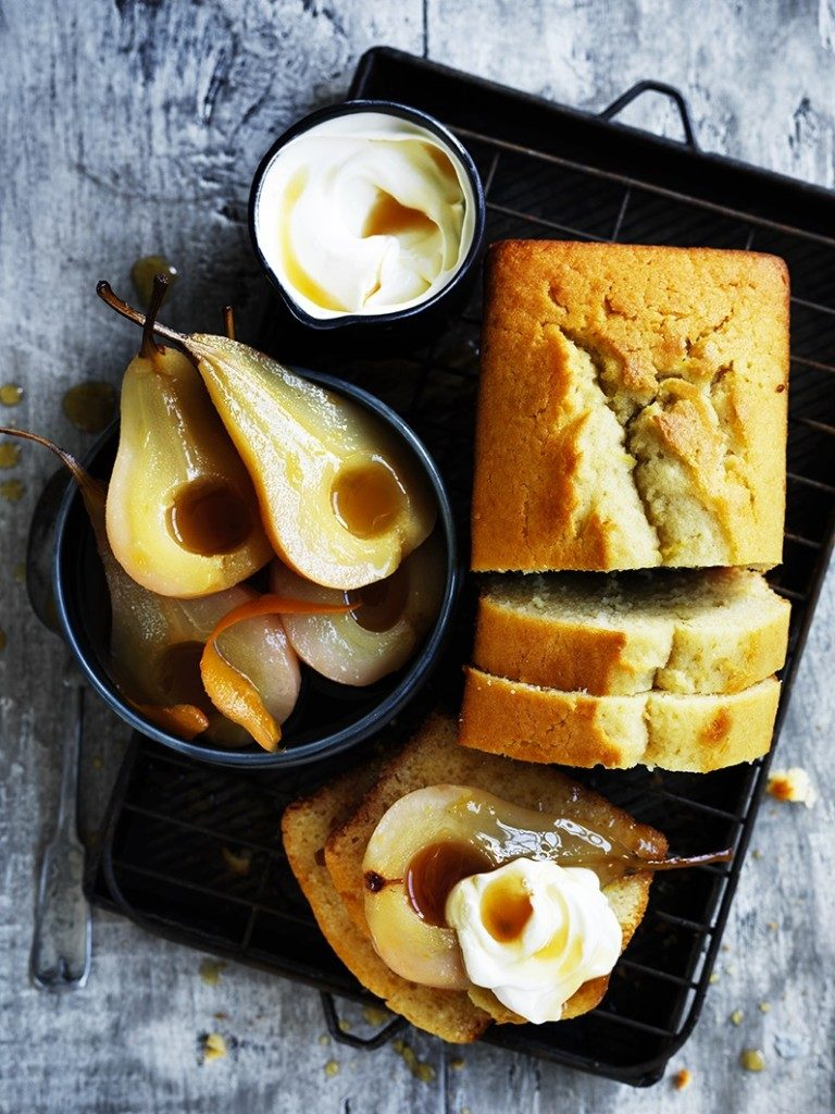 Olive oil & sauternes cake with maple roasted pears