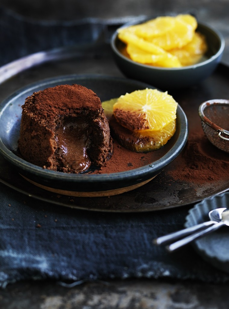 Chocolate fondant cake with Grand Marnier poached oranges