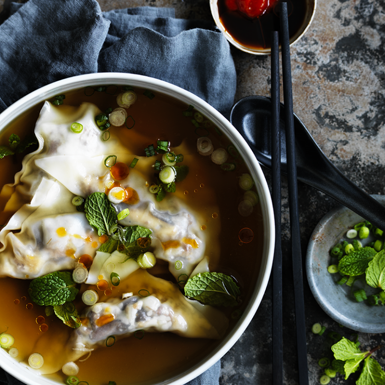 Shiitake wontons in oxtail broth