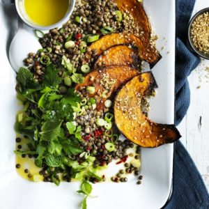 Neil Perry's Good Weekend recipe: Warm lentil salad with pumpkin & chilli.