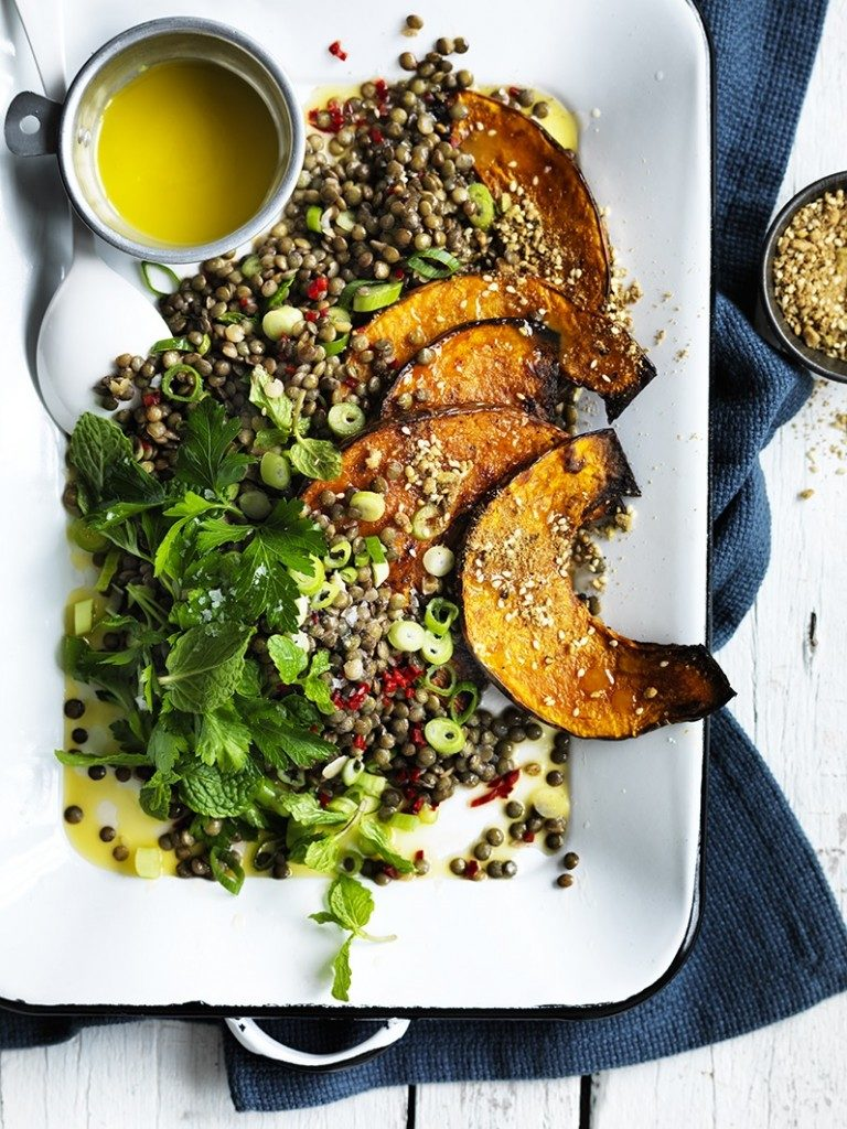 Warm lentil salad with pumpkin & chilli