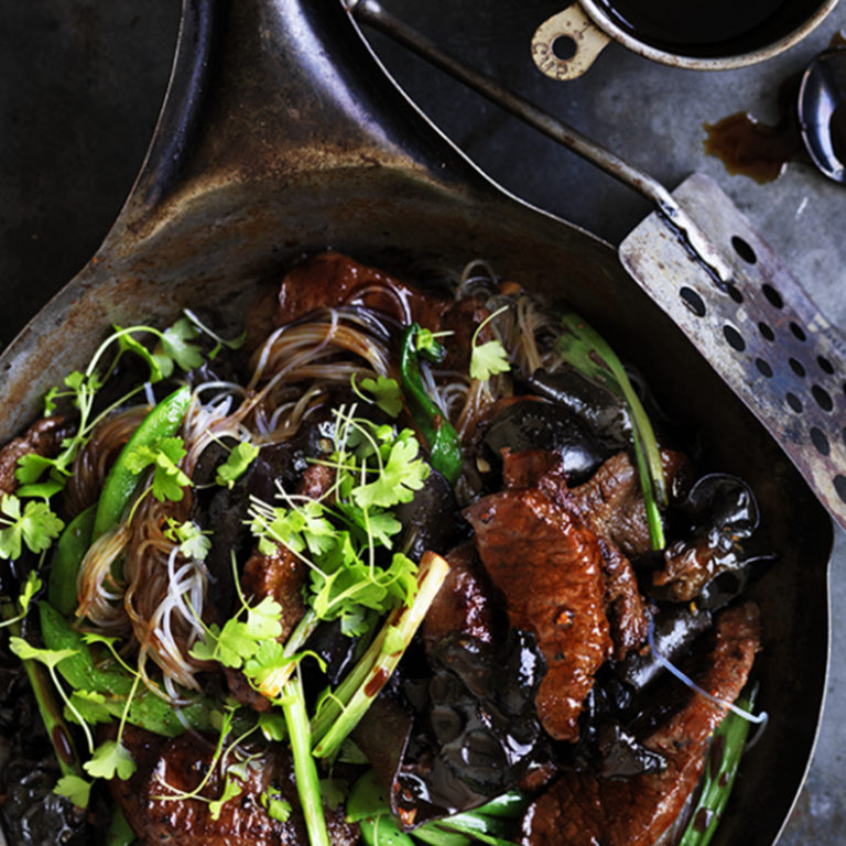 Neil Perry's Good Weekend recipe: Lamb, mushroom, noodle & hoisin stir fry.