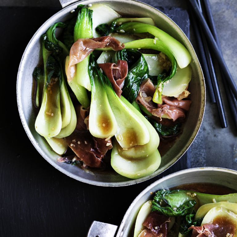 Bok choy with prosciutto