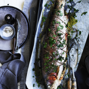 Neil Perry's Good Weekend recipe: Whole roasted ocean trout with lemon & thyme.