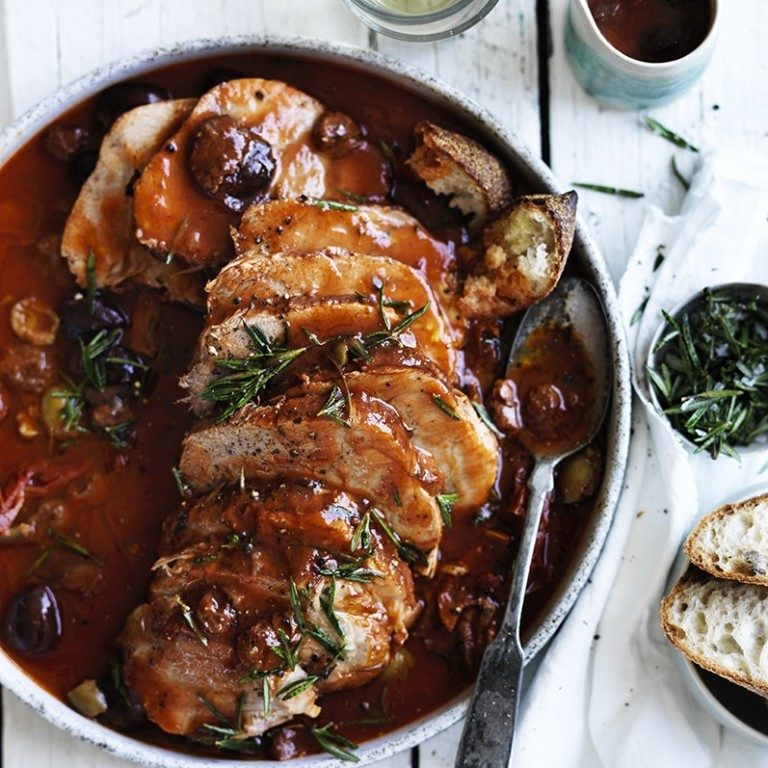 Braised leg of veal in tomato & olives