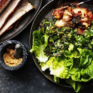 Neil Perry's Good Weekend recipe: Korean slow-cooked pork belly wraps.