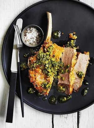 Crumbed veal steaks with olive & pistachio pesto
