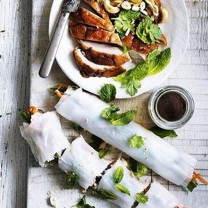 eil Perry's Good Weekend recipe: Roast duck rice paper rolls.
