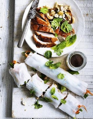 Roast duck rice paper rolls