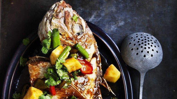Crispy fried snapper with sweet & sour sauce
