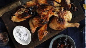 Barbecued duck with cherries