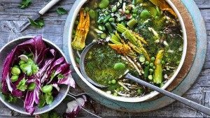 Neil Perry's Good Weekend recipe: Spring minestrone with bacon, pesto, asparagus & broad beans.