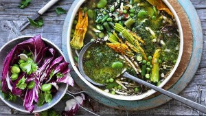 Spring minestrone with bacon, pesto, asparagus & broad beans