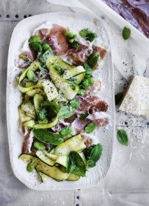Neil Perry's Good Weekend recipe: Zucchini, broad bean & mint salad with cured ham.