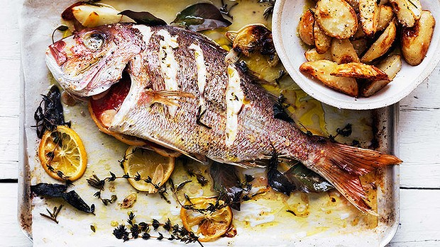 Whole snapper roasted with herbs & potato