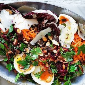Neil Perry's Good Weekend recipe: Soft-boiled eggs with beetroot, carrot & parsley salad.