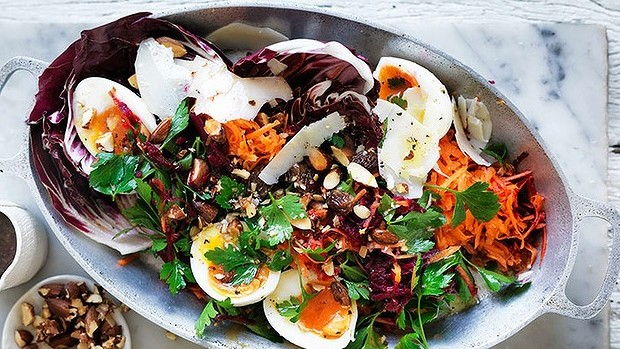 Soft-boiled eggs with beetroot, carrot & parsley salad