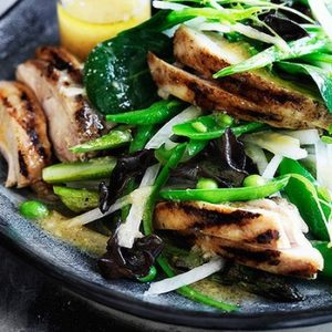 Neil Perry's Good Weekend recipe: Chargrilled chicken salad with ginger miso dressing.