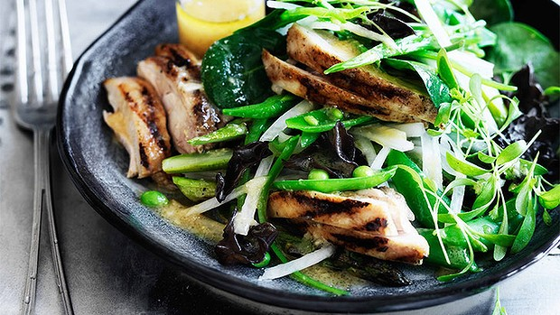 Chargrilled chicken salad with ginger miso dressing