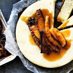 Neil Perry's Good Weekend recipe: Vanilla & ginger cheesecake with roast pineapple.