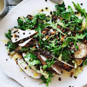 Neil Perry's Good Weekend recipe: Spiced chicken & lentil salad.
