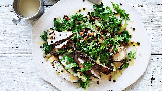 Spiced chicken & lentil salad
