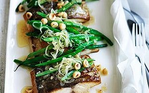 Neil Perry's Good Weekend recipe: Kingfish with hazelnuts, beans & brown butter.