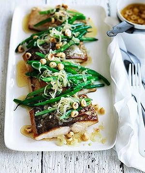 Kingfish with hazelnuts, beans & brown butter