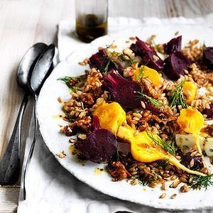 Neil Perry's Good Weekend recipe: Salad of farro, baby beetroots, gorgonzola & candied walnuts.
