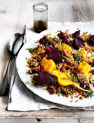 Salad of farro, baby beetroots, gorgonzola & candied walnuts