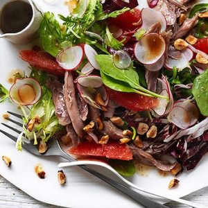 Neil Perry's Good Weekend recipe: Salad of duck with ruby grapefruits, hazelnuts & radicchio.