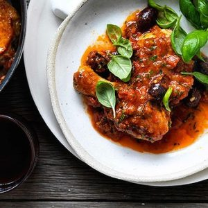 Neil Perry's Good Weekend recipe: Provencal chicken with tomato & olive sauce.