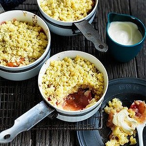 Neil Perry's Good Weekend recipe: Baked rhubarb & apple shortcake with double cream.