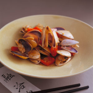 Neil Perry's Balance and Harmony recipe: Stir-fried pipis in bean sauce with chillies.