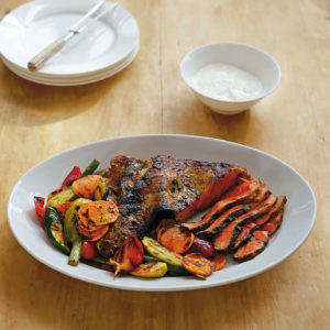 Neil Perry's Balance and Harmony recipe: Marinated lamb leg with spicy chargrilled vegetables & garlic yoghurt.