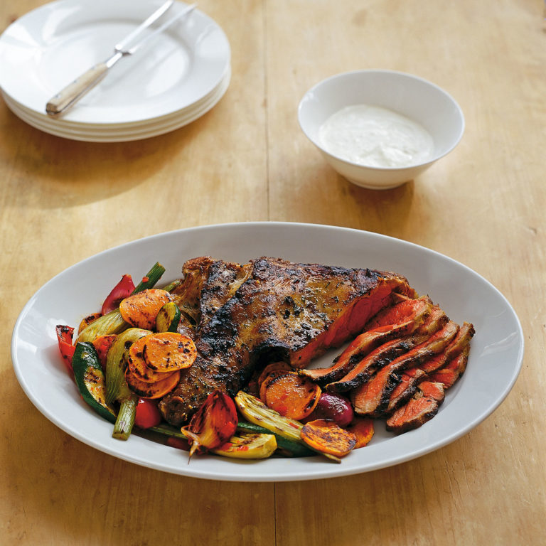Marinated lamb leg with spicy chargrilled veg