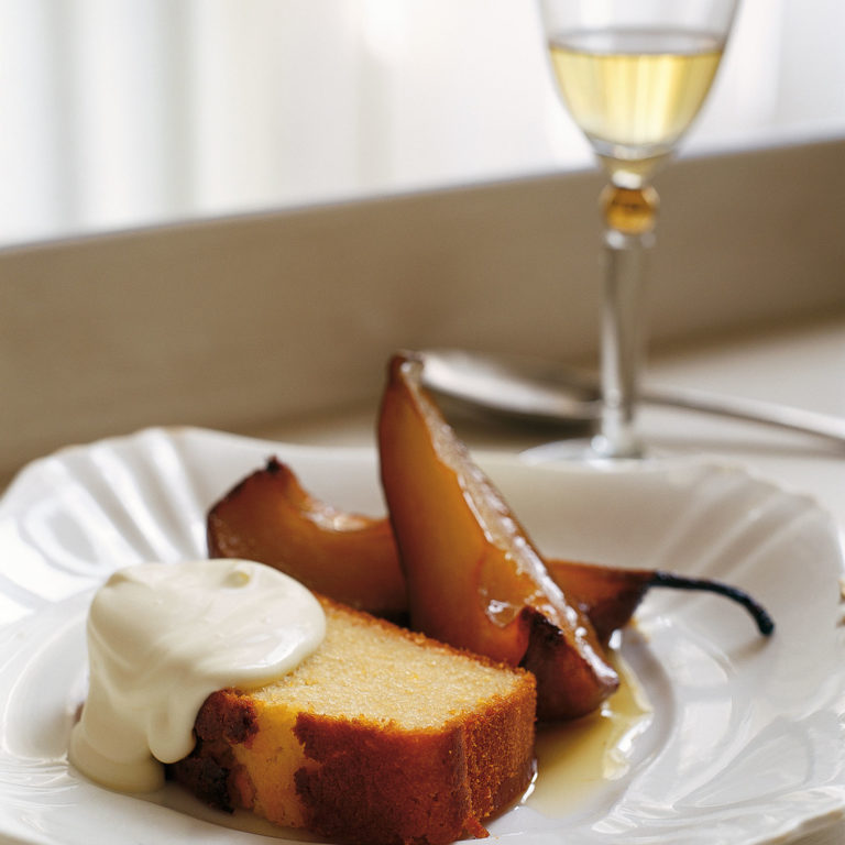 Olive oil & sauternes cake with roast pears