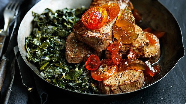 Pan-fried veal with cavalo nero