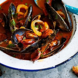 Neil Perry's Good Weekend recipe: Steamed mussels with fennel, garlic & chorizo.
